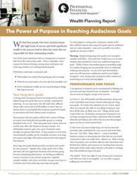 cover image of Wealth Planning Report: The Power of Purpose in Reaching Audacious Goals