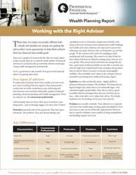 """cover image of Wealth Planning Report: """"Working with the Right Advisor"""""""
